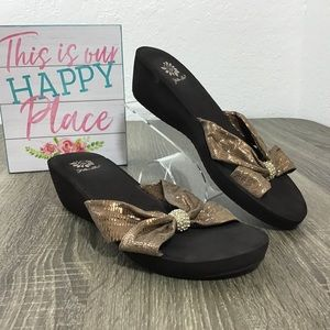 Yellow Box | Brown Wedge Sandals Size 7